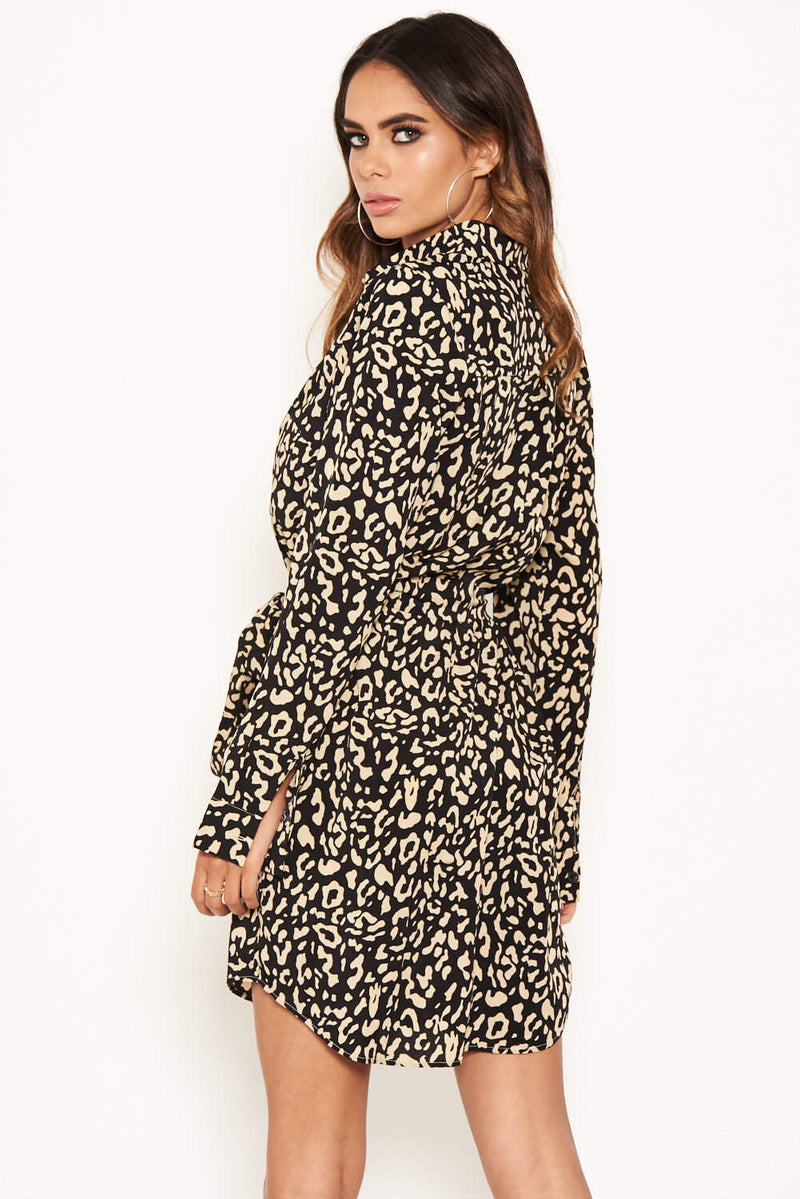 Animal Print Shirt Dress With Tie Belt