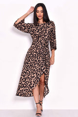 Animal Print Tie Detail Maxi Dress