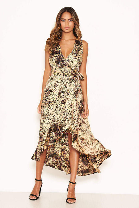 Black Lace Notch Front Midi Dress