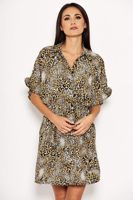 Cream Chain Printed Bat Wing Dress