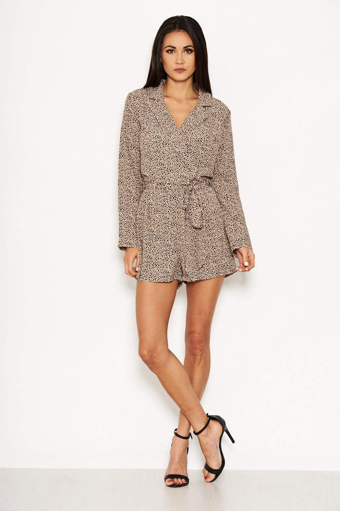 Animal Print Belted Playsuit