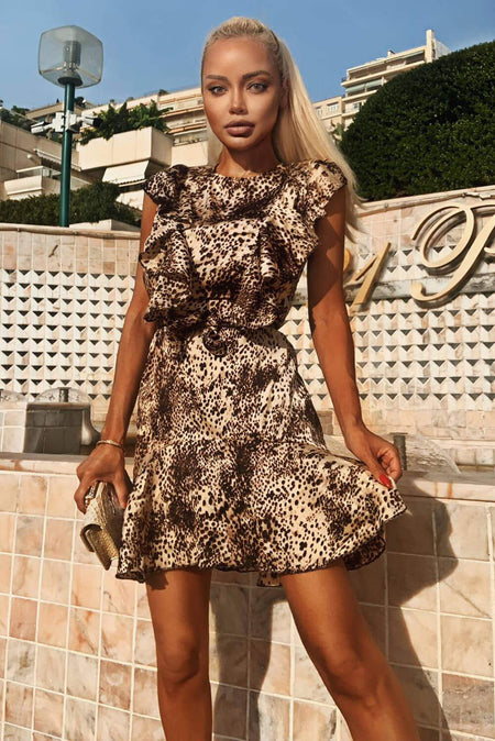 Brown Leopard Print Frill Hem Maxi Dress
