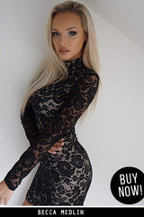 Black and Nude High Neck Long Sleeved Lace Mini Dress