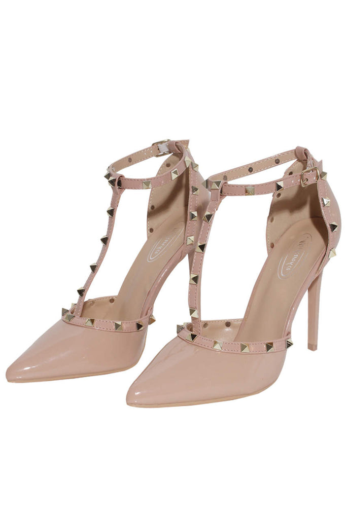 Beige Pointed Toe Studded Stiletto Heels