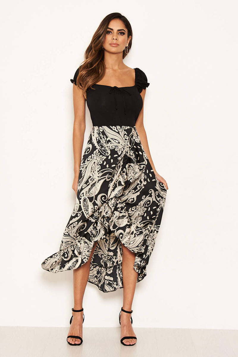 Black Printed Layered Frill Ruched Sleeve Dress