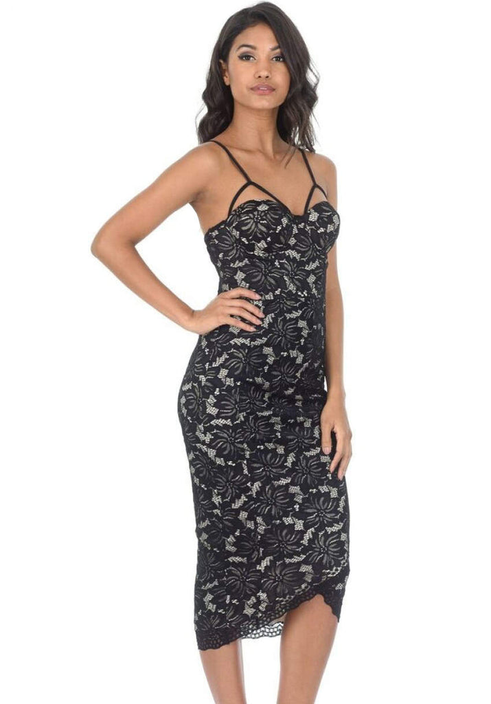 Black And Nude Contrast Lace Wrap Dress