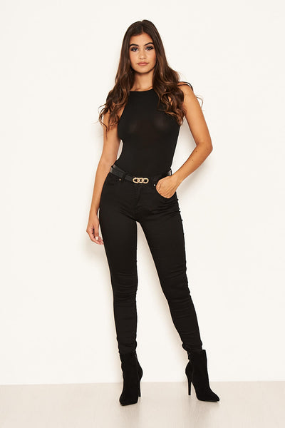 Black Basic High Waisted Jeans
