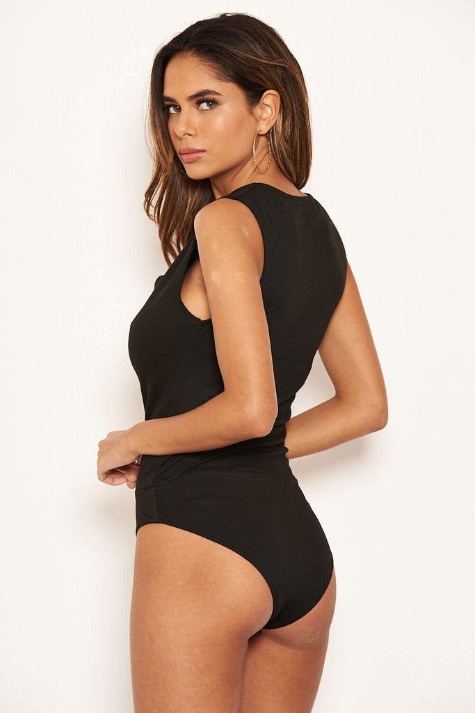 Black Cowl Neck Bodysuit