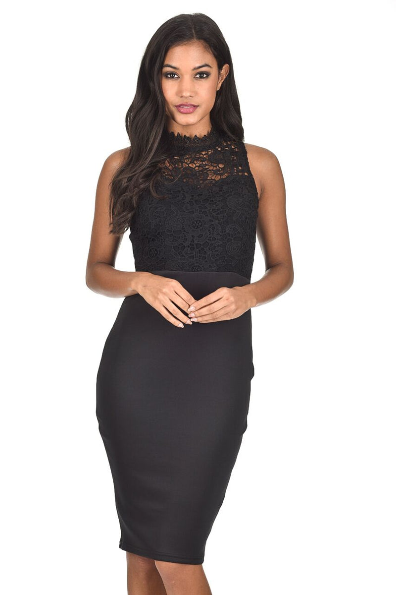 Black High Neck Crochet Bodycon Dress