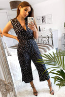 Black Ditsy Wrap Jumpsuit