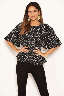Black Ditsy Floral Flared Blouse