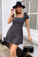 Black Ditsy Floral Puff Sleeve Day Dress
