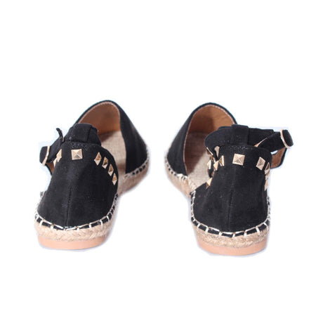 Black Faux Suede Studded Espadrille