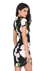 Black Floral Print High Neck Mini Dress