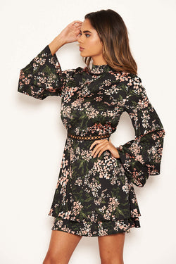 Black Floral Frill Skirt Dress
