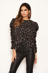 Black Floral Ruched Sleeves top