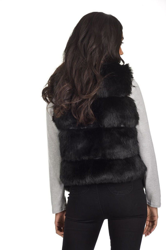 Black Short Faux Fur Gilet
