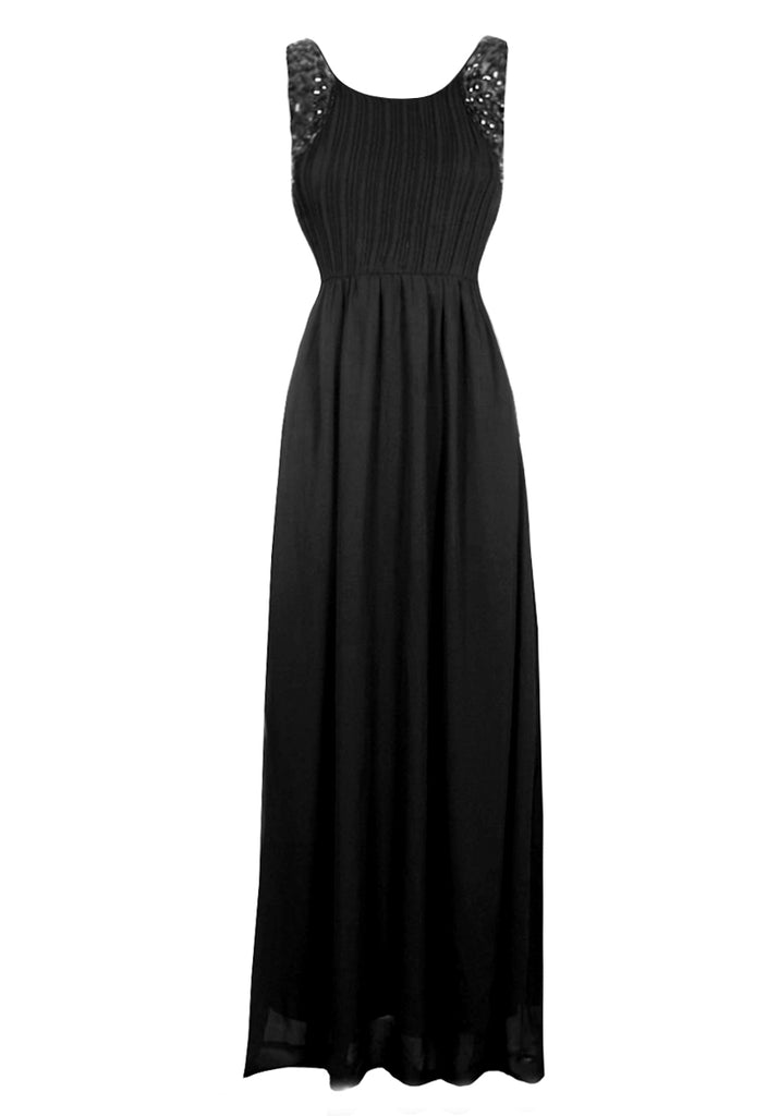 Black Jewelled  Detail Maxi Dress