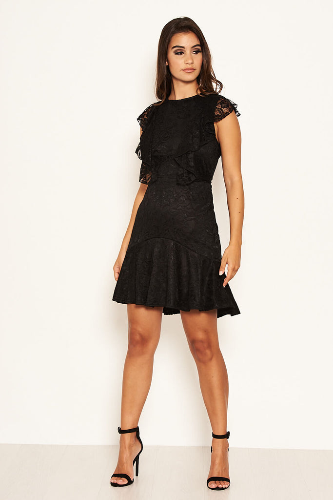 Black Lace Tie Front Frill Dress