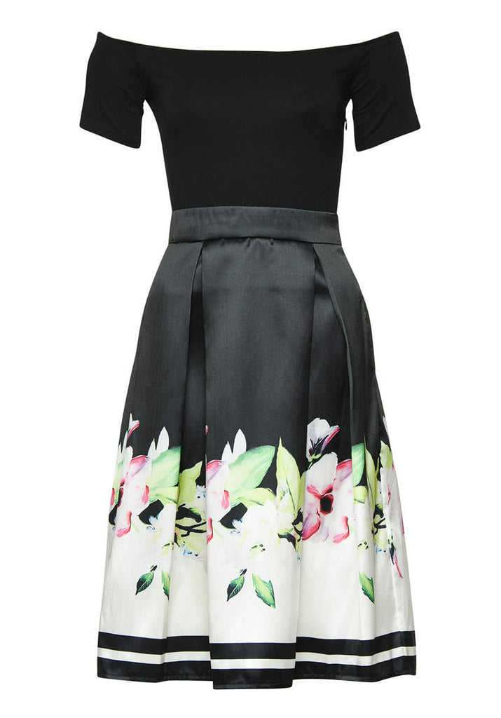 Black Floral 2 in 1 Skater Midi Dress