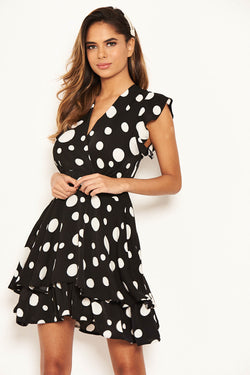Black Polka Dot Frill Swing Dress