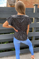 Black Polka Dot Wrap Top