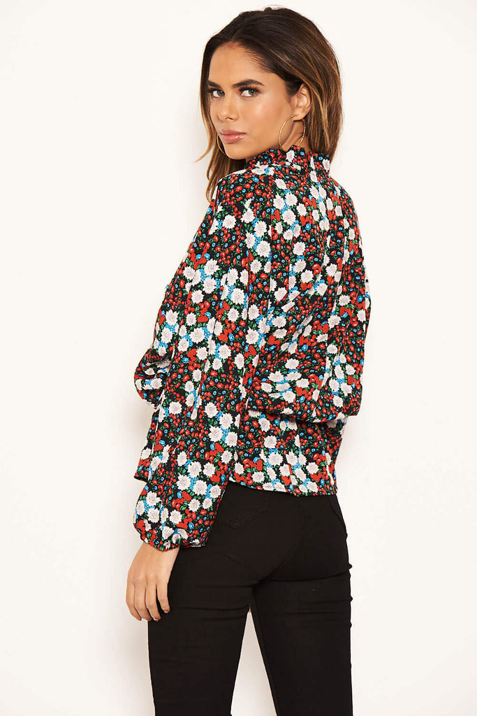Red Floral Wrap Over Top