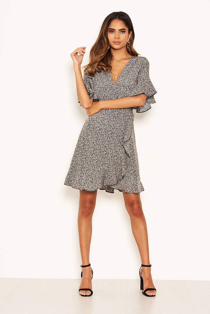 Black Ditsy Printed Frill Hem Wrap Dress