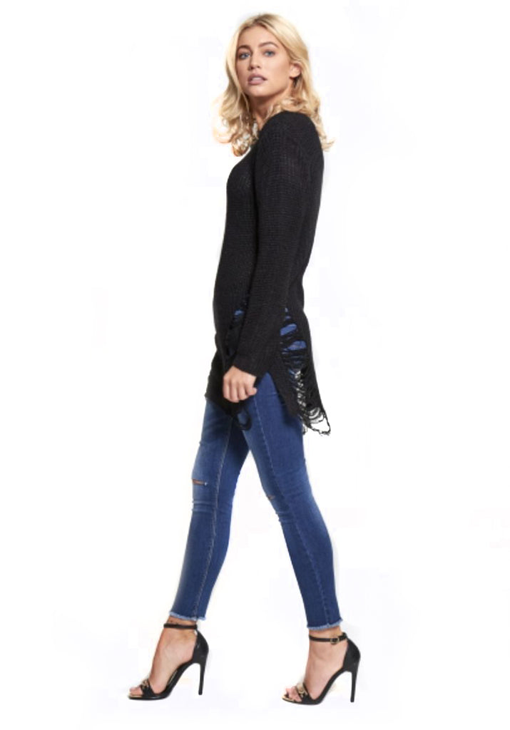 Black Ladder Cable Knit Jumper