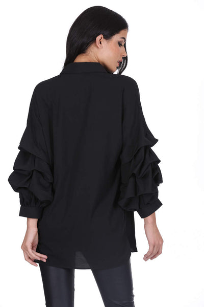 Black Ruffle Sleeve Shirt