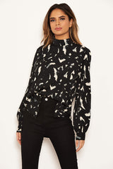 Black Abstract Print High Neck Top