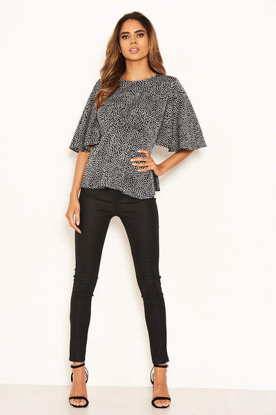 Black Spotty Flared Blouse