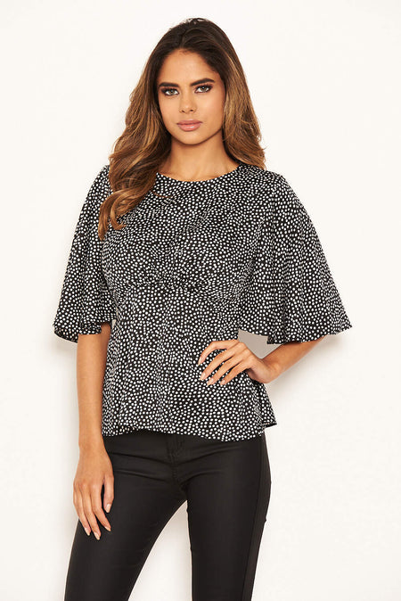 Black Polka Dot Wrap Over Top