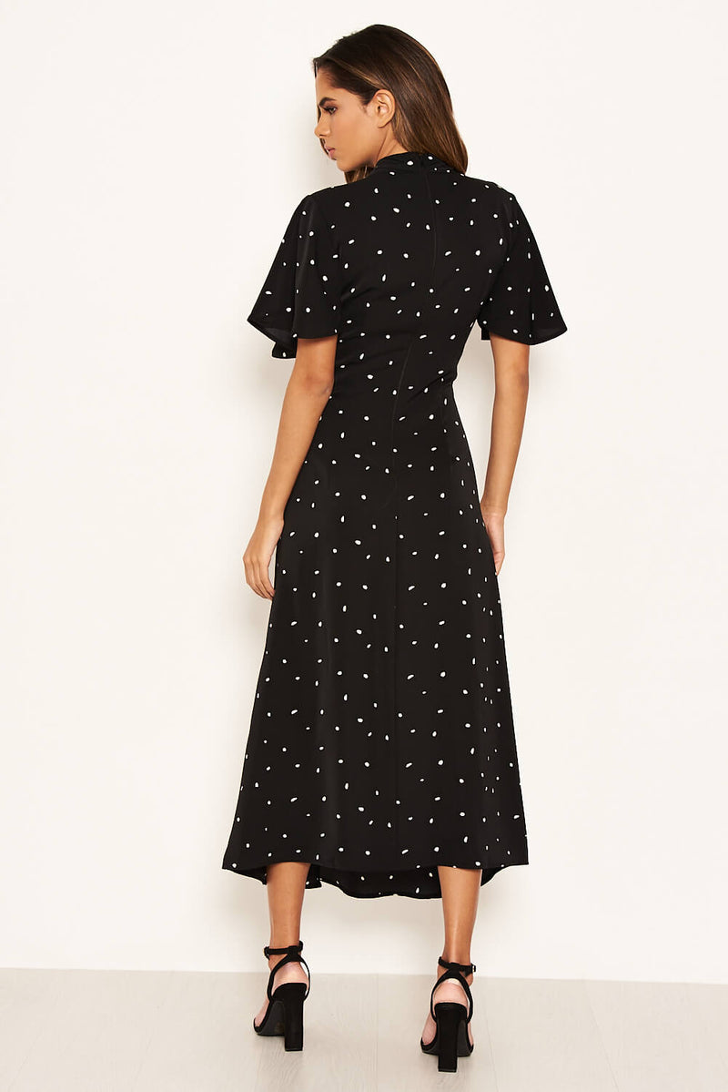 Black Spotty Ruched Split Maxi Dress