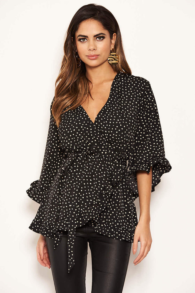 Black Frill Spotted Wrap Top