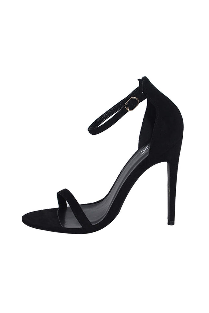 Black Suede Barely There Heels