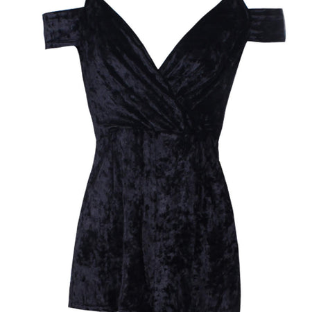 Black Wrap Front Velvet Playsuit