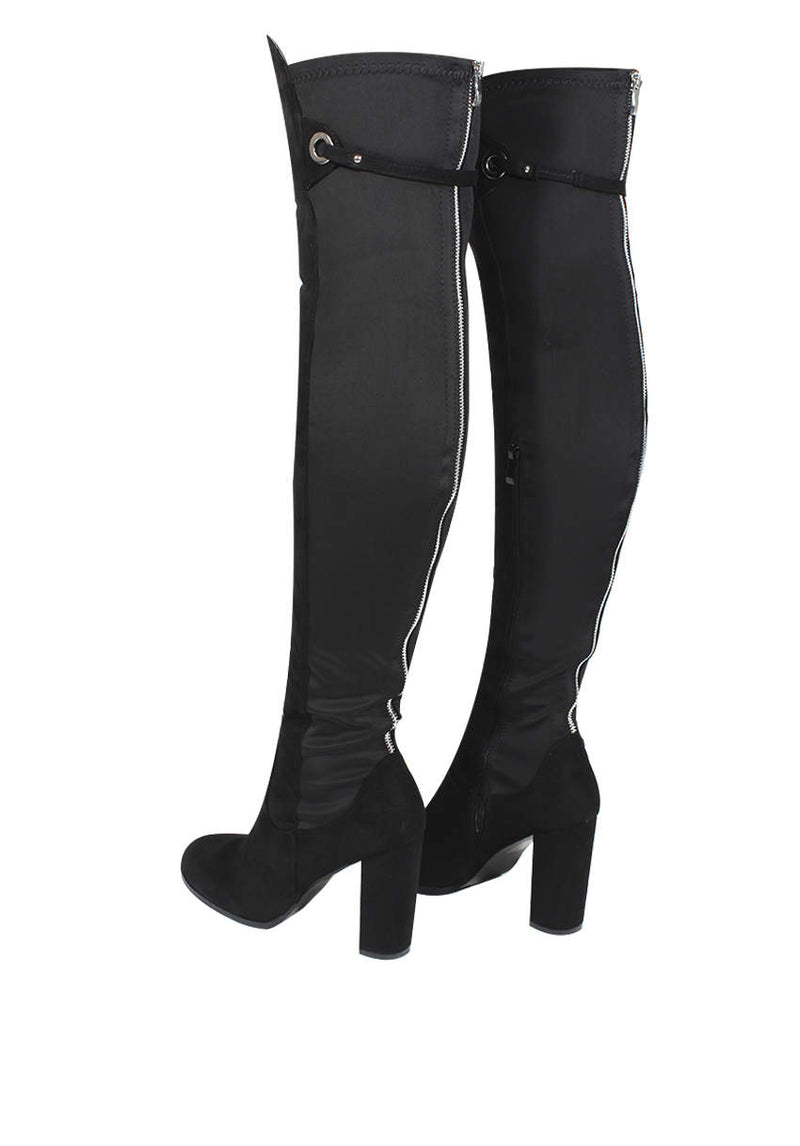 Black Over The Knee Boots With Silver Zip Detail