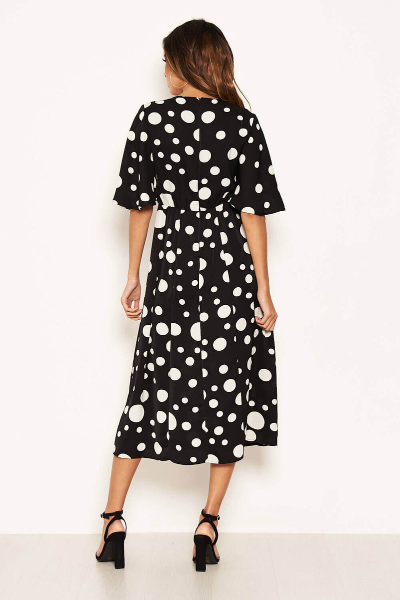Black Polka Dot Ruffle Sleeve Split Dress