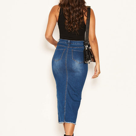 Blue Denim Midi Skirt