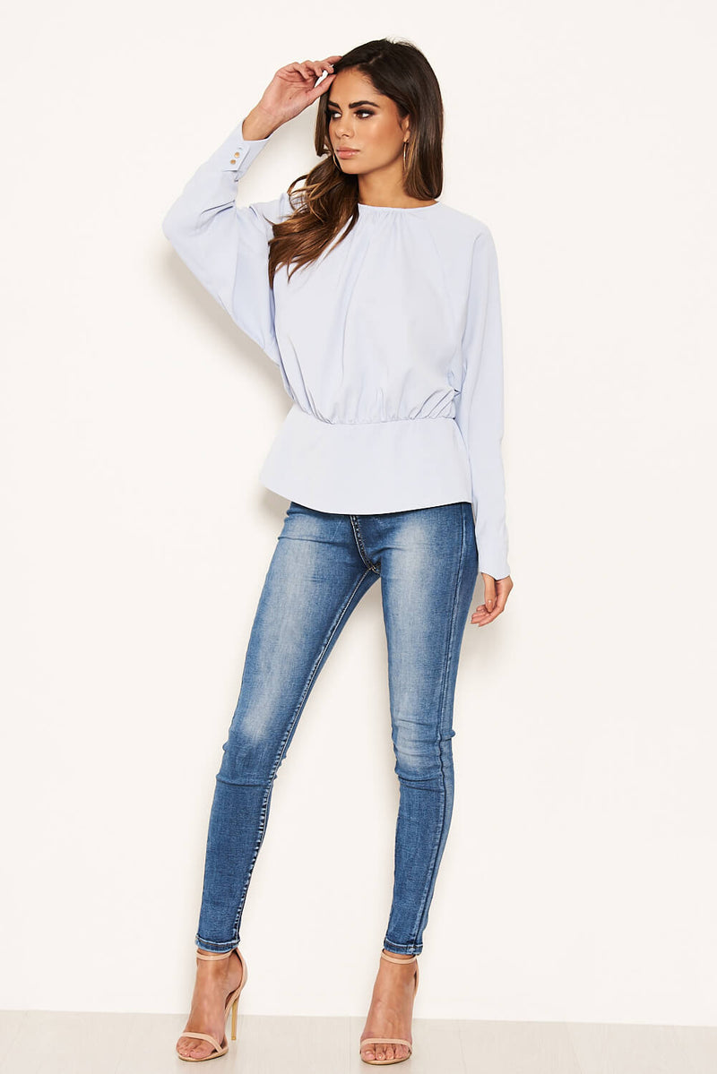 Blue Long Sleeve Pleated Top