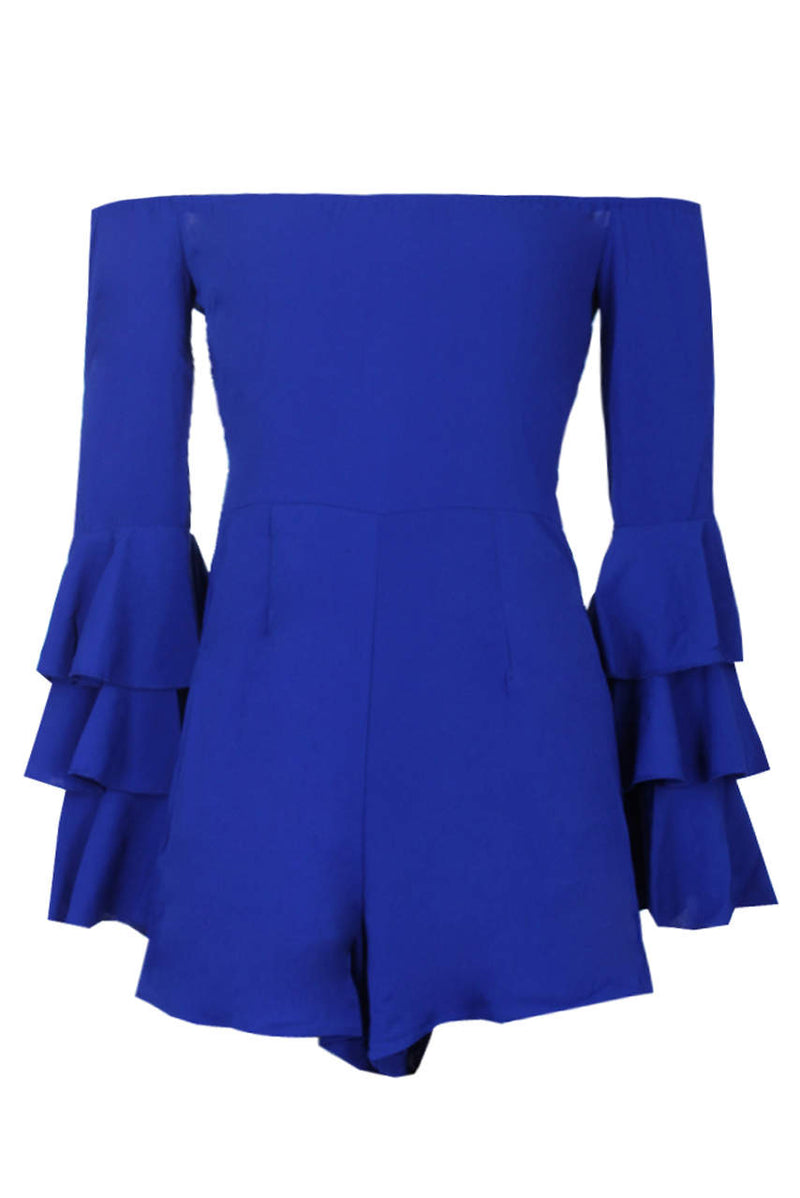 Blue Ruffle Sleeve Playsuit