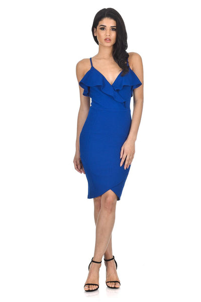 Blue Wrap Over Dress Featuring  Frill Detail