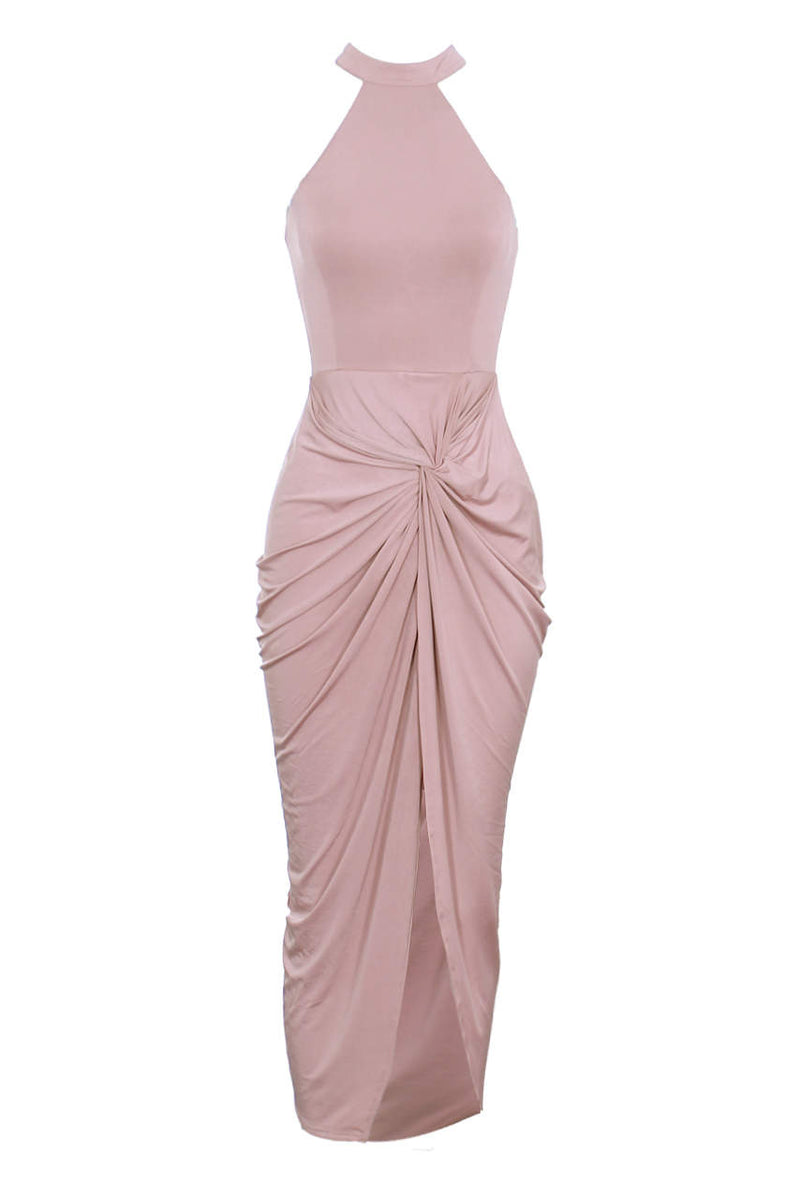 Blush Racer Neck Wrap Dress