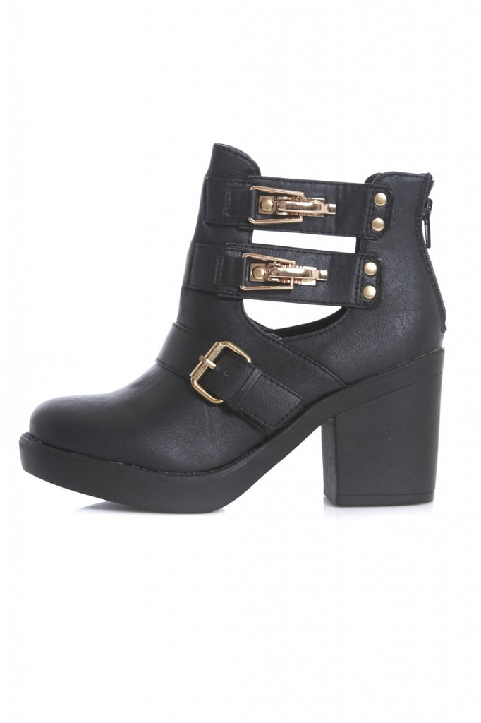 Cut Out Buckle Heeled Ankle Boot
