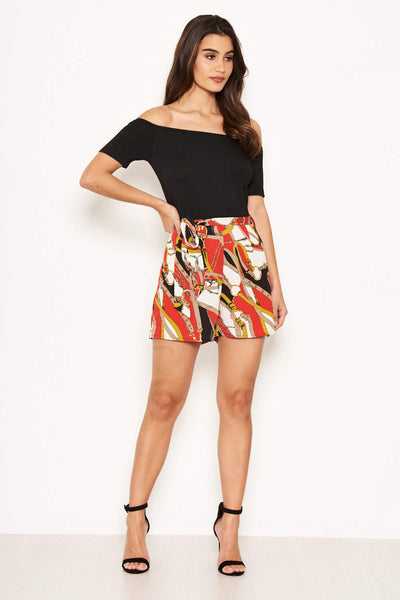 Bardot Red Chain Print Playsuit