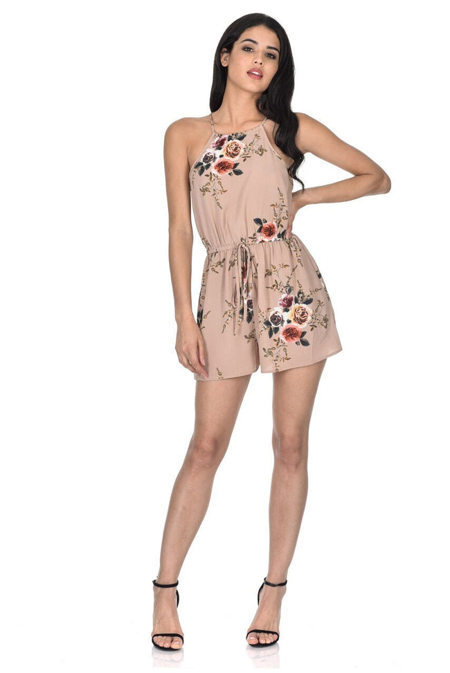Beige Floral Printed Playsuit