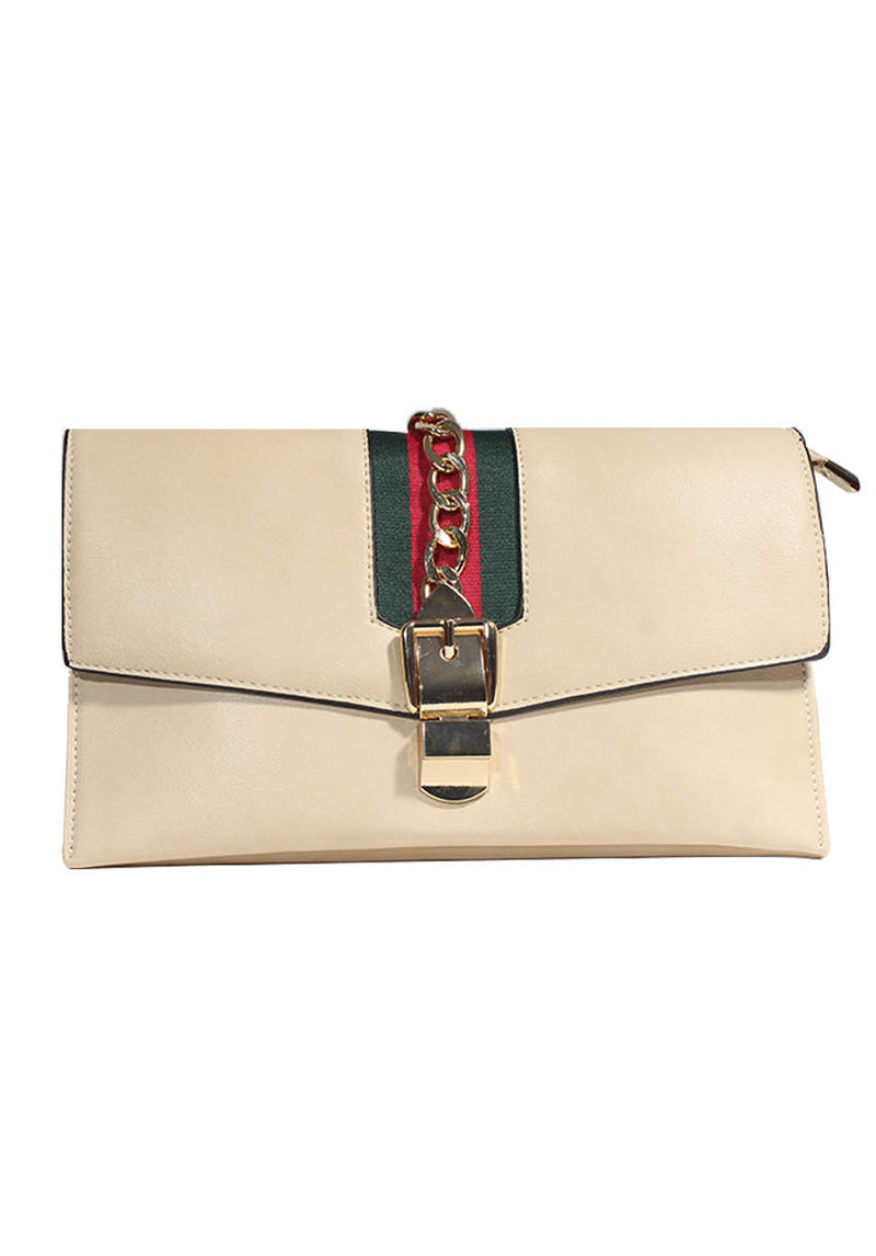 Beige Gold Chain Detailing With Green And Red Striped Panel Bag
