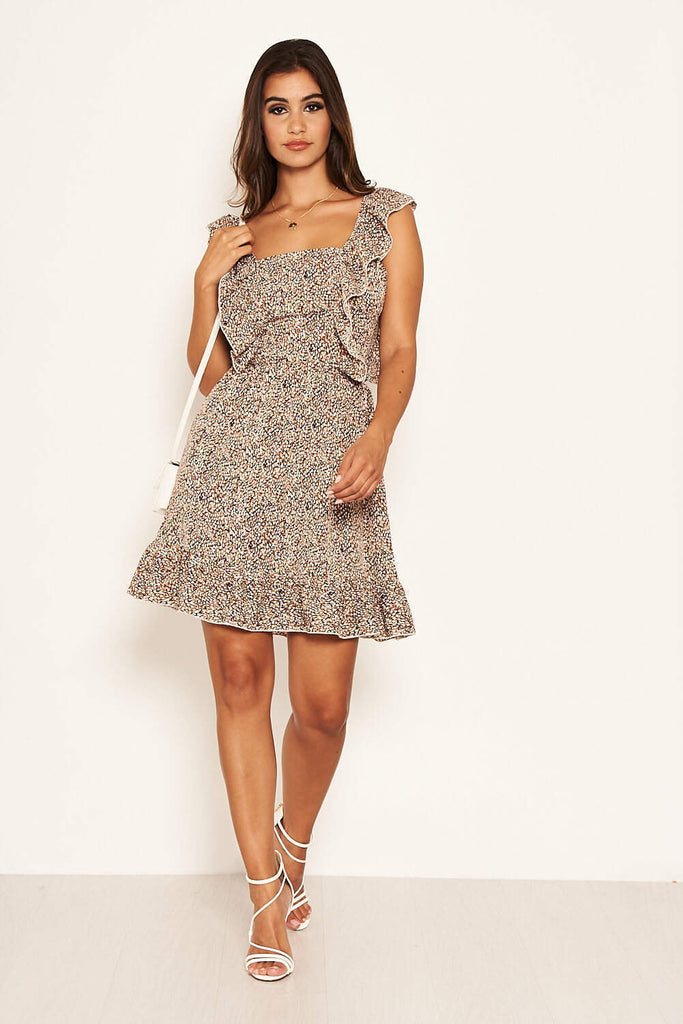 Beige Printed Frill Mini Dress