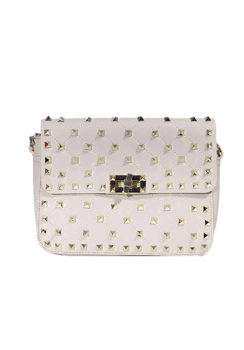 Beige Studded Clutch Bag